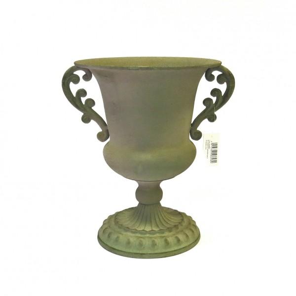Übertopf Blumentopf Pflanzenkübel Kübel Topf Grün Antik Shabby Metall 26 cm